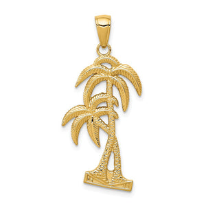 14k Yellow Gold Polished and Textured Double Palm Trees Pendant - The Black Bow Jewelry Co.