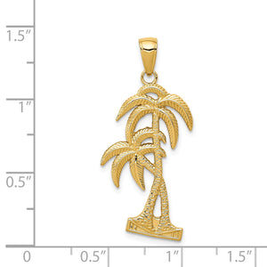 Alternate view of the 14k Yellow Gold Polished and Textured Double Palm Trees Pendant by The Black Bow Jewelry Co.