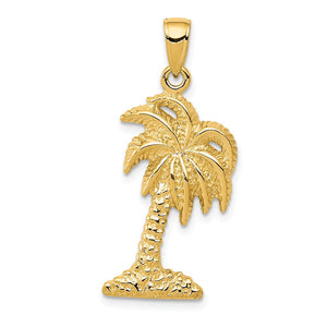 14k Yellow Gold Solid Textured Palm Tree Pendant - The Black Bow Jewelry Co.