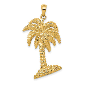 14k Yellow Gold Large Textured Palm Tree Pendant - The Black Bow Jewelry Co.