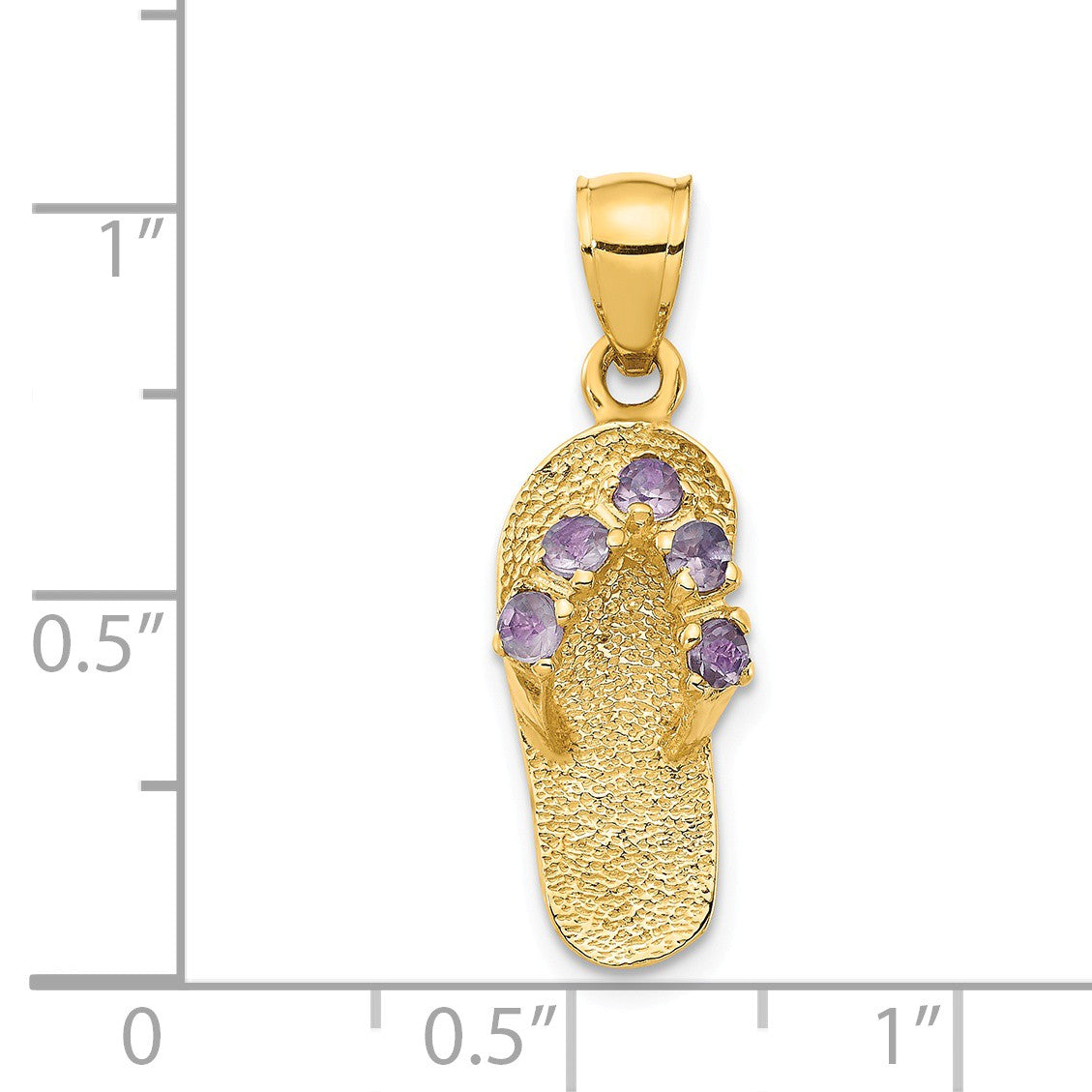 Alternate view of the 14k Yellow Gold June Cubic Zirconia Birthstone Flip Flop Pendant by The Black Bow Jewelry Co.