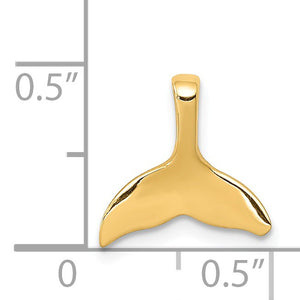 Alternate view of the 14k Yellow Gold Small Whale Tail Slide Pendant by The Black Bow Jewelry Co.