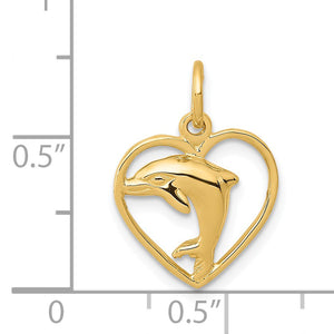 14k Yellow Gold 13mm Dolphin and Heart Charm
