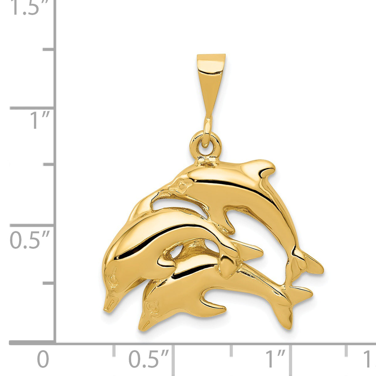 Alternate view of the 14k Yellow Gold Dolphin Pod Pendant by The Black Bow Jewelry Co.
