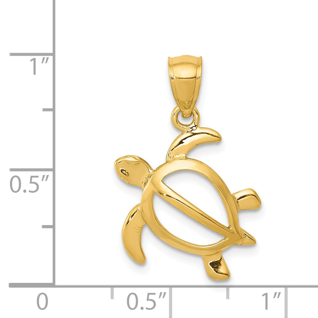 Alternate view of the 14k Yellow Gold 16mm Open Sea Turtle Pendant by The Black Bow Jewelry Co.