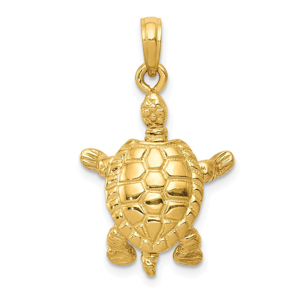14k Yellow Gold Moveable 3D Turtle Pendant, Item P9922 by The Black Bow Jewelry Co.