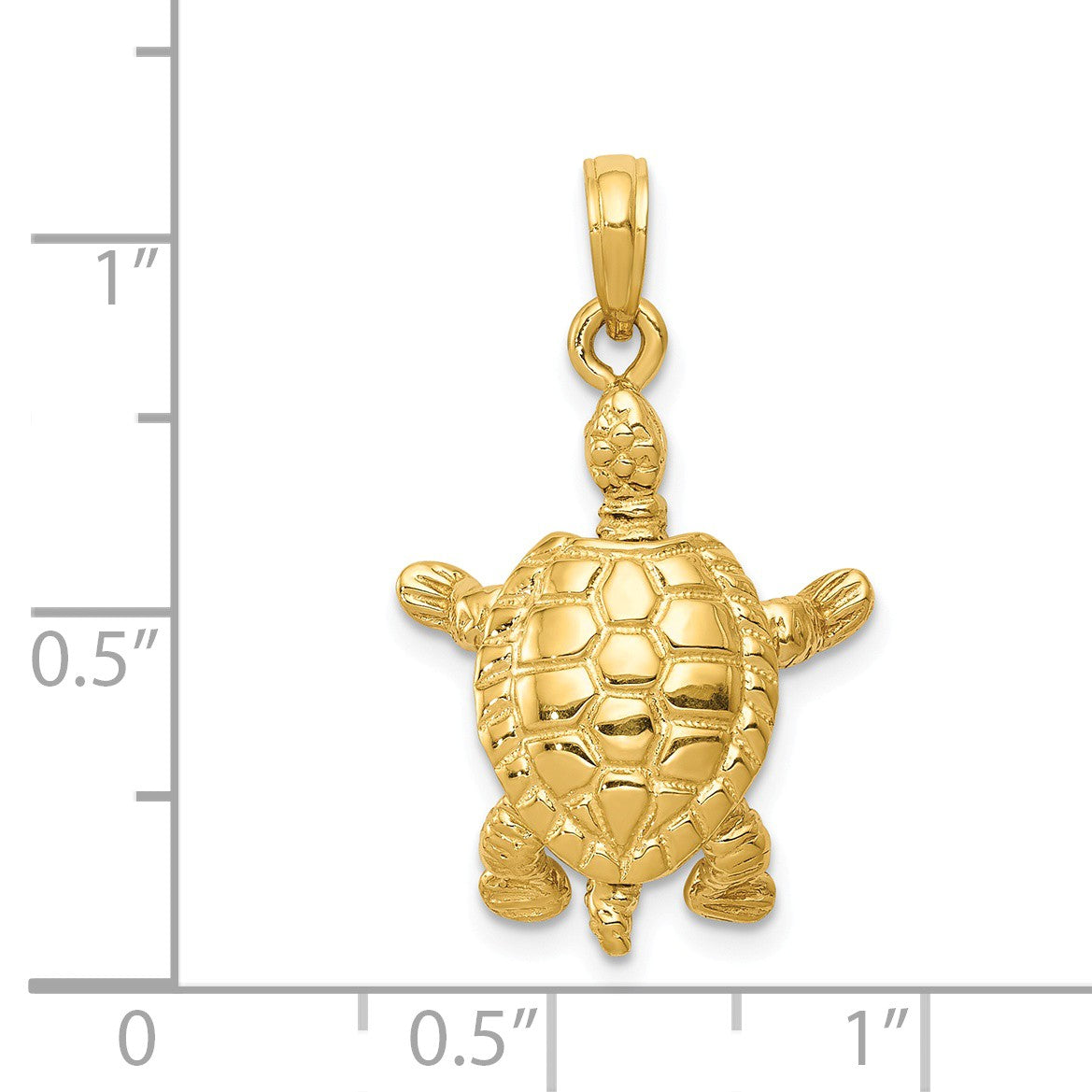 Alternate view of the 14k Yellow Gold Moveable 3D Turtle Pendant by The Black Bow Jewelry Co.
