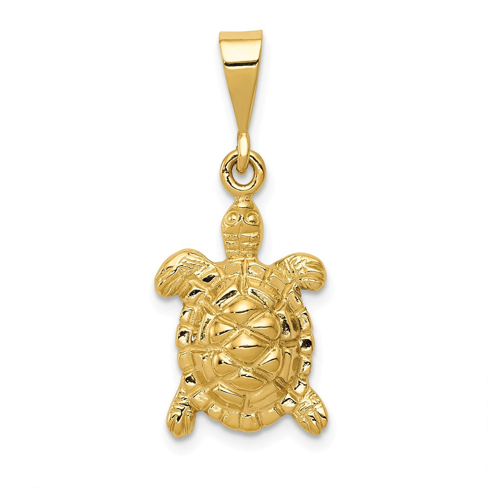 14k Yellow Gold 2D Turtle Pendant, Item P9923 by The Black Bow Jewelry Co.