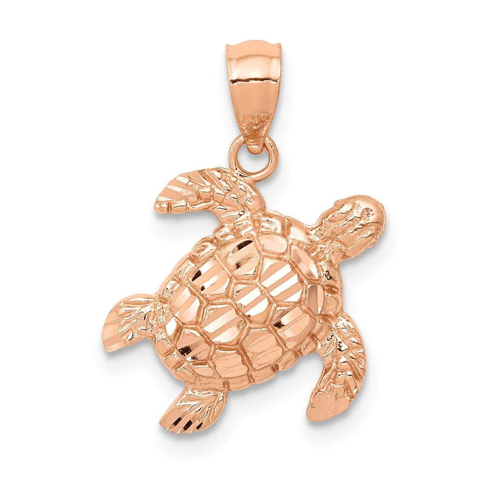 14k Rose Gold Diamond Cut Sea Turtle Pendant, Item P9927 by The Black Bow Jewelry Co.