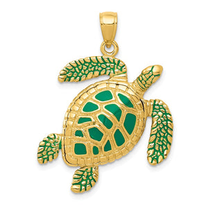 14k Yellow Gold Green Enameled 3D Sea Turtle Pendant - The Black Bow Jewelry Co.