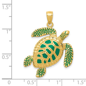 14k Yellow Gold Green Enameled 3D Sea Turtle Pendant