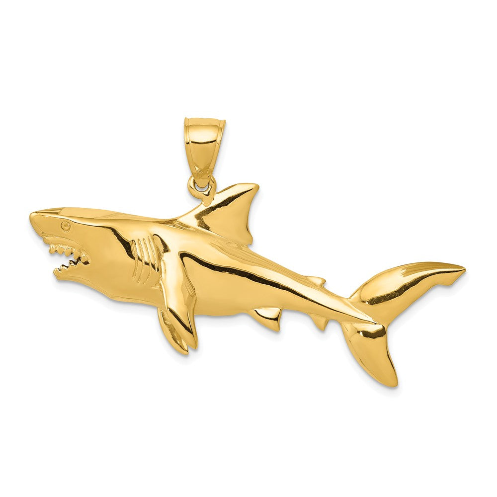 14k Yellow Gold 3D Shark Pendant, Item P9938 by The Black Bow Jewelry Co.