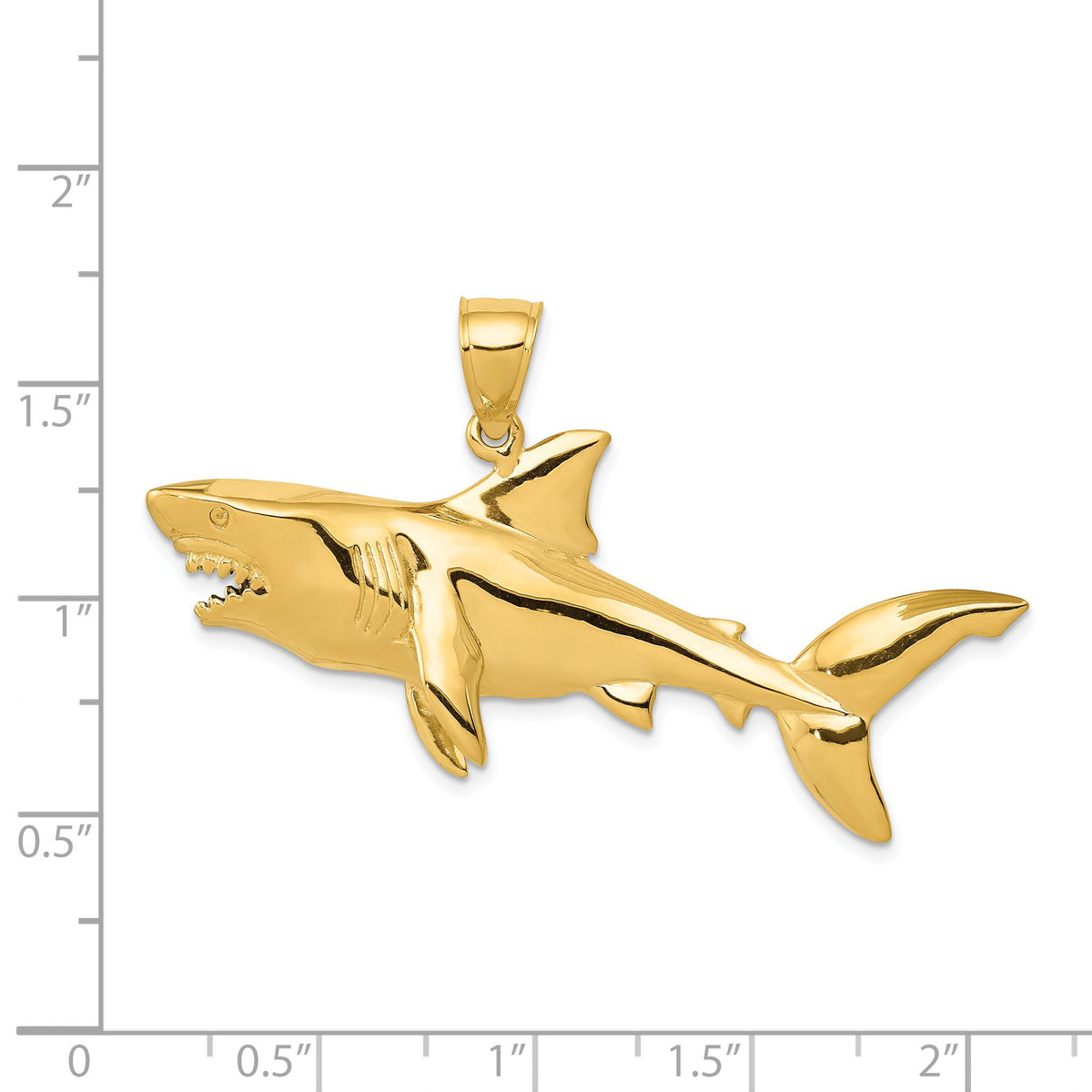 Alternate view of the 14k Yellow Gold 3D Shark Pendant by The Black Bow Jewelry Co.