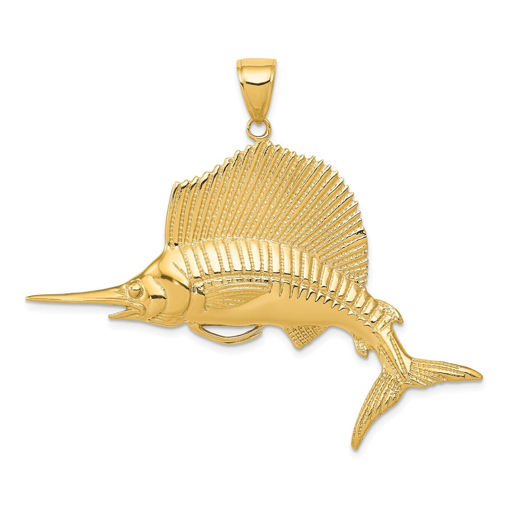 14k Yellow Gold Large Sailfish Pendant, Item P9941 by The Black Bow Jewelry Co.