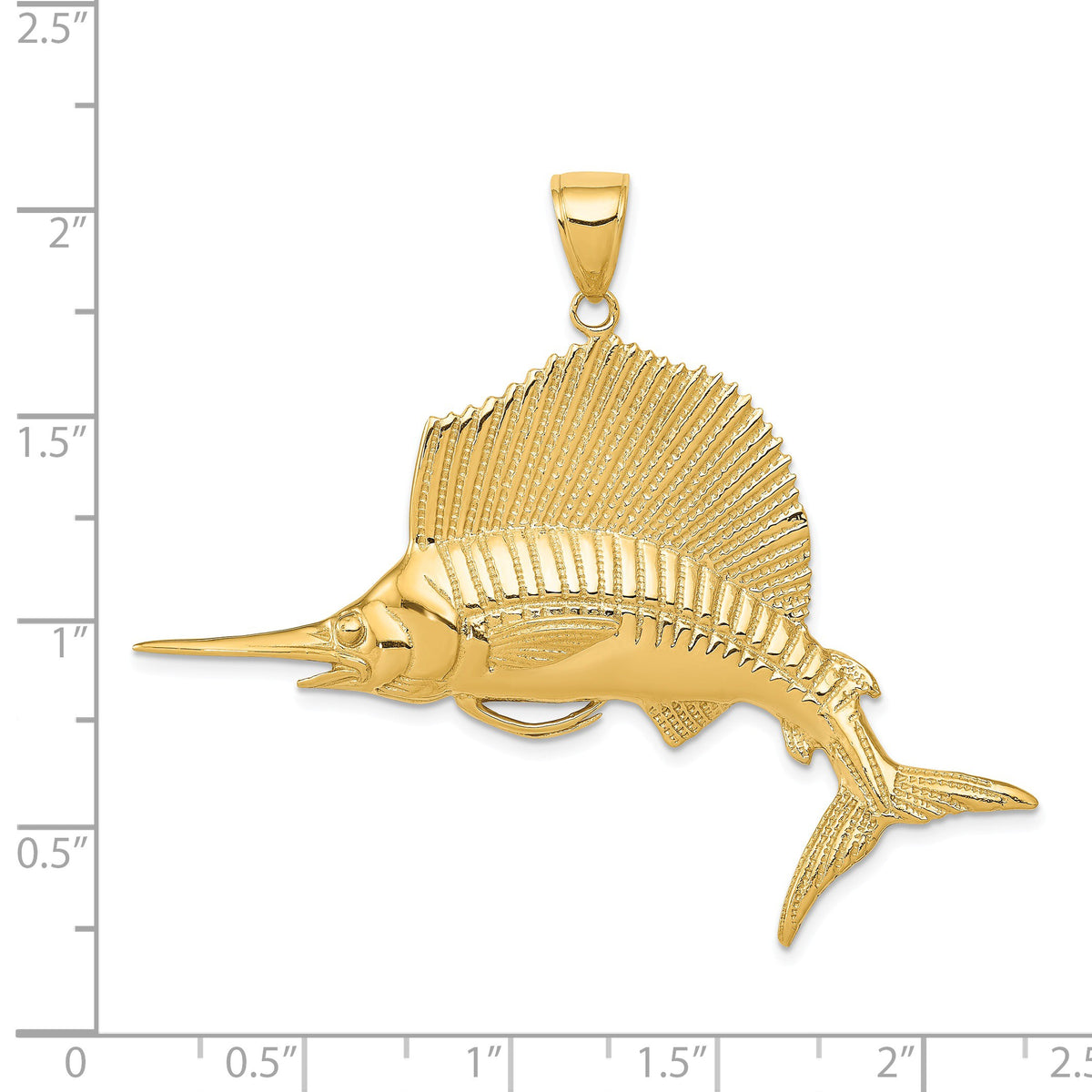 Alternate view of the 14k Yellow Gold Large Sailfish Pendant by The Black Bow Jewelry Co.