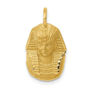 14k Yellow Gold Satin and Diamond Cut King Tut Charm - The Black Bow Jewelry Co.