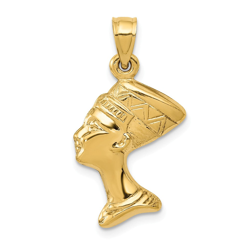 14k Yellow Gold 3D Polished Egyptian Nefertiti Pendant, Item P9950 by The Black Bow Jewelry Co.