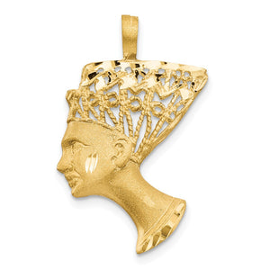 14k Yellow Gold Filigree Egyptian Nefertiti Pendant - The Black Bow Jewelry Co.