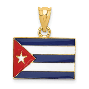 14k Yellow Gold Enameled Cuba Flag Pendant - The Black Bow Jewelry Co.