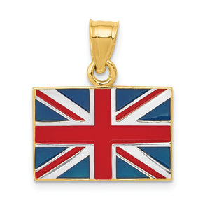 14k Yellow Gold, White Rhodium and Enamel United Kingdom Flag Pendant - The Black Bow Jewelry Co.