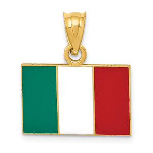 14k Yellow Gold Enameled Flag of Italy Pendant - The Black Bow Jewelry Co.