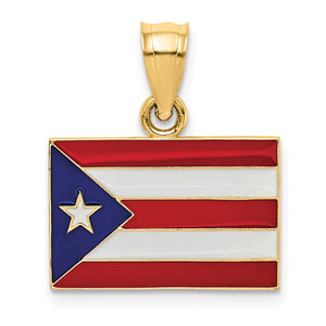 14k Yellow Gold Enameled Flag of Puerto Rico Pendant - The Black Bow Jewelry Co.