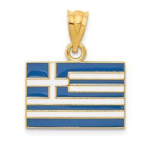 14k Yellow Gold Enameled Greece Flag Pendant - The Black Bow Jewelry Co.