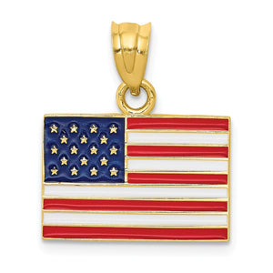 14k Yellow Gold Enameled United States Flag Pendant - The Black Bow Jewelry Co.
