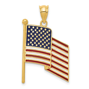 14k Yellow Gold Enameled Waving American Flag Pendant - The Black Bow Jewelry Co.