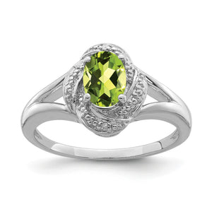 Sterling Silver .01 Ctw (H-I, I2-I3) Diamond & Oval Peridot Ring - The Black Bow Jewelry Co.