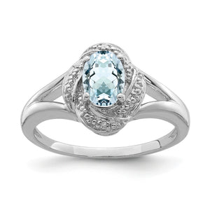 Sterling Silver .01 Ctw (H-I, I2-13) Diamond & Oval Aquamarine Ring - The Black Bow Jewelry Co.