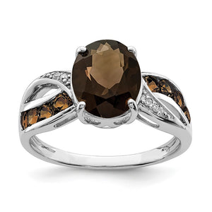 Smoky Quartz & .02 Ctw Diamond Split Shank Sterling Silver Ring - The Black Bow Jewelry Co.