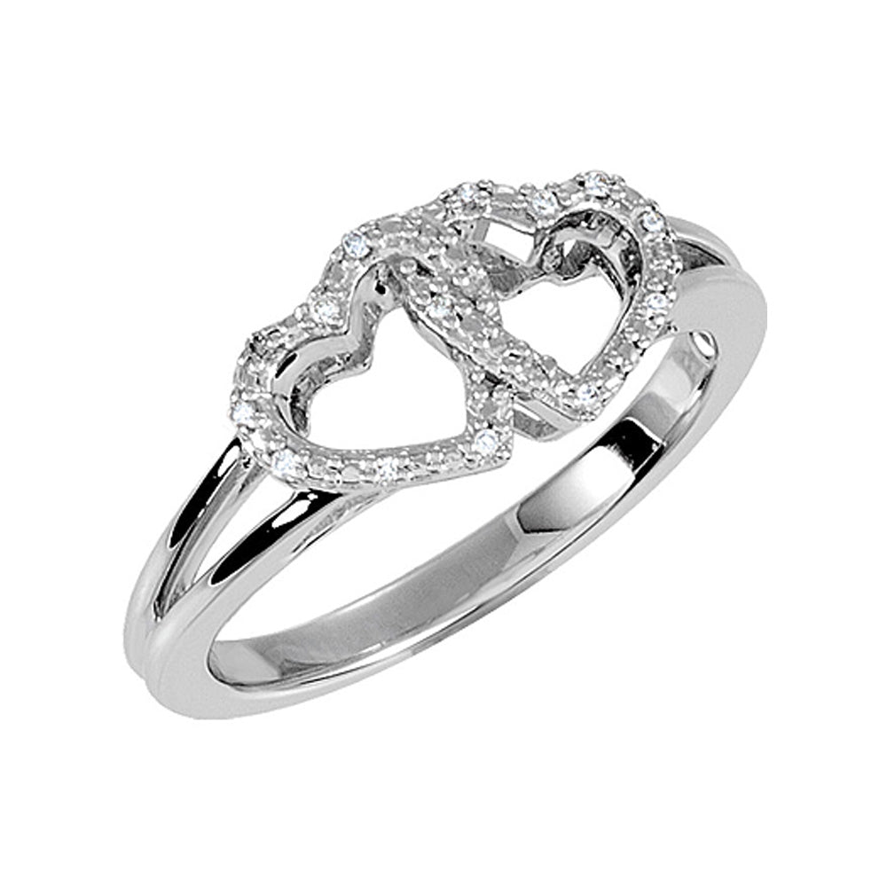 .05 Ctw Diamond Accent Double Heart Ring in Sterling Silver - The Black Bow Jewelry Co.
