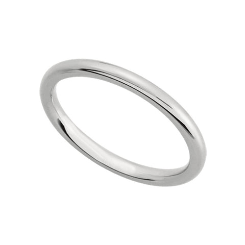Black Bow Jewelry 2mm Flat Comfort Fit Wedding Band in 14k White Gold