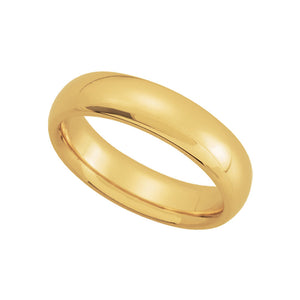 5mm Domed Comfort Fit Wedding Band in 14k Yellow Gold - The Black Bow Jewelry Co.