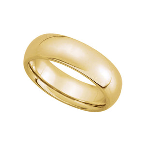 6mm Domed Comfort Fit Wedding Band in 14k Yellow Gold - The Black Bow Jewelry Co.