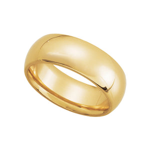 7mm Domed Comfort Fit Wedding Band in 10k Yellow Gold - The Black Bow Jewelry Co.