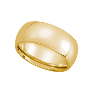 8mm Domed Comfort Fit Wedding Band in 14k Yellow Gold - The Black Bow Jewelry Co.