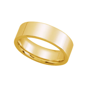 6mm Flat Comfort Fit Wedding Band in 14k Yellow Gold - The Black Bow Jewelry Co.