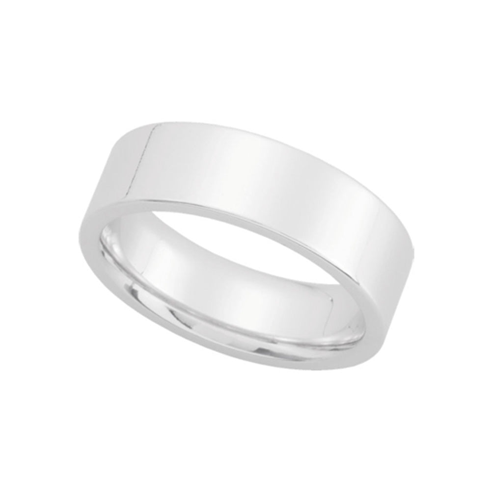 6mm Flat Comfort Fit Wedding Band in Platinum - The Black Bow Jewelry Co.