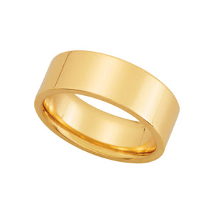 7mm Flat Comfort Fit Wedding Band in 10k Yellow Gold - The Black Bow Jewelry Co.