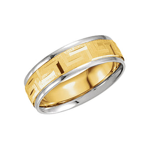 7mm Comfort Fit Greek Key Band in 14k Two Tone Gold - The Black Bow Jewelry Co.