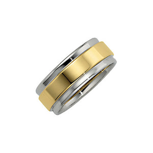 7.5mm Two Tone Comfort Fit Grooved Edge Band in 14k Gold - The Black Bow Jewelry Co.
