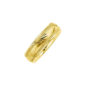 6mm Comfort Fit Engraved Design Band in 14k Yellow Gold - The Black Bow Jewelry Co.
