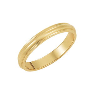 3mm Half Round Ridged Edge Band in 10k Yellow Gold - The Black Bow Jewelry Co.