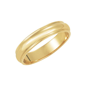 4mm Half Round Ridged Edge Band in 14k Yellow Gold - The Black Bow Jewelry Co.