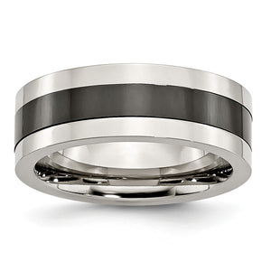 8mm Polished Stainless Steel and Black Ceramic Flat Band - The Black Bow Jewelry Co.