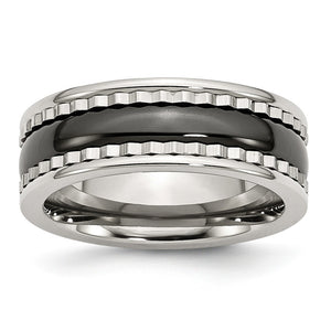 8mm Sawtooth Accent Stainless Steel and Black Ceramic Band - The Black Bow Jewelry Co.