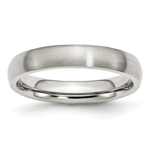 4mm Brushed Domed Comfort Fit Band in Stainless Steel - The Black Bow Jewelry Co.