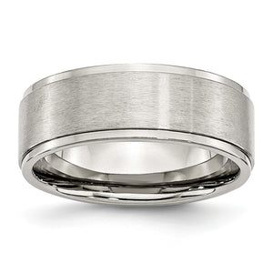 8mm Stainless Steel Ridged Edge Dual Finished Comfort Fit Band - The Black Bow Jewelry Co.